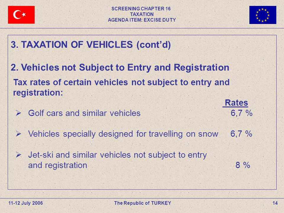 SCREENING CHAPTER 16 TAXATION AGENDA ITEM: EXCISE DUTY 14The Republic of TURKEY11-12 July 2006 Rates Golf cars and similar vehicles 6,7 % Vehicles spe