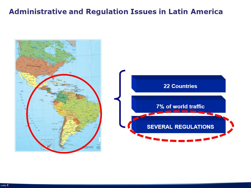 Administrative and Regulation Issues in Latin America 22 Countries 7% of world traffic SEVERAL REGULATIONS