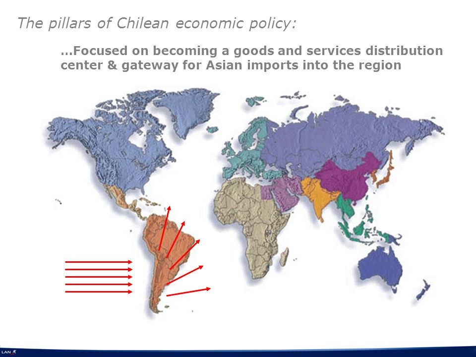 …Focused on becoming a goods and services distribution center & gateway for Asian imports into the region The pillars of Chilean economic policy: