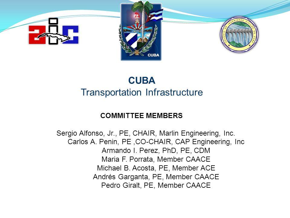 CUBA Transportation Infrastructure COMMITTEE MEMBERS Sergio Alfonso, Jr., PE, CHAIR, Marlin Engineering, Inc. Carlos A. Penin, PE,CO-CHAIR, CAP Engine
