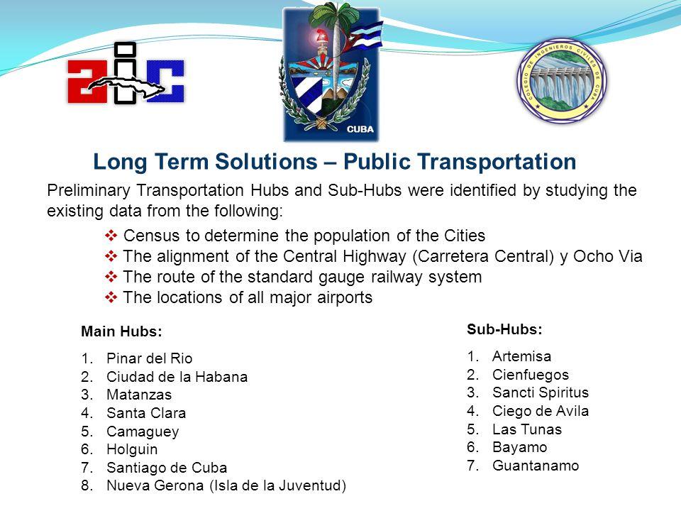 Main Hubs: 1.Pinar del Rio 2.Ciudad de la Habana 3.Matanzas 4.Santa Clara 5.Camaguey 6.Holguin 7.Santiago de Cuba 8.Nueva Gerona (Isla de la Juventud)