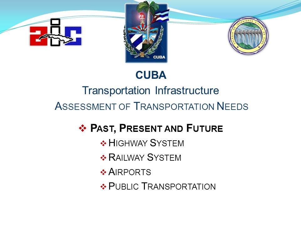 CUBA Transportation Infrastructure A SSESSMENT OF T RANSPORTATION N EEDS P AST, P RESENT AND F UTURE H IGHWAY S YSTEM R AILWAY S YSTEM A IRPORTS P UBL