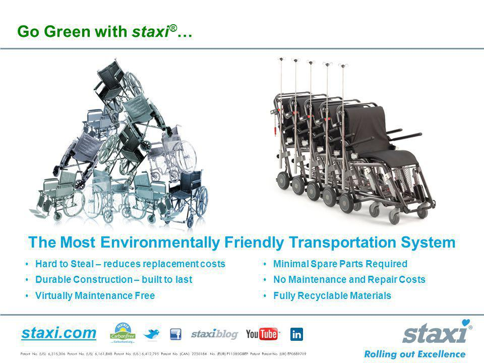 staxi.com The Most Environmentally Friendly Transportation System Hard to Steal – reduces replacement costs Durable Construction – built to last Virtu