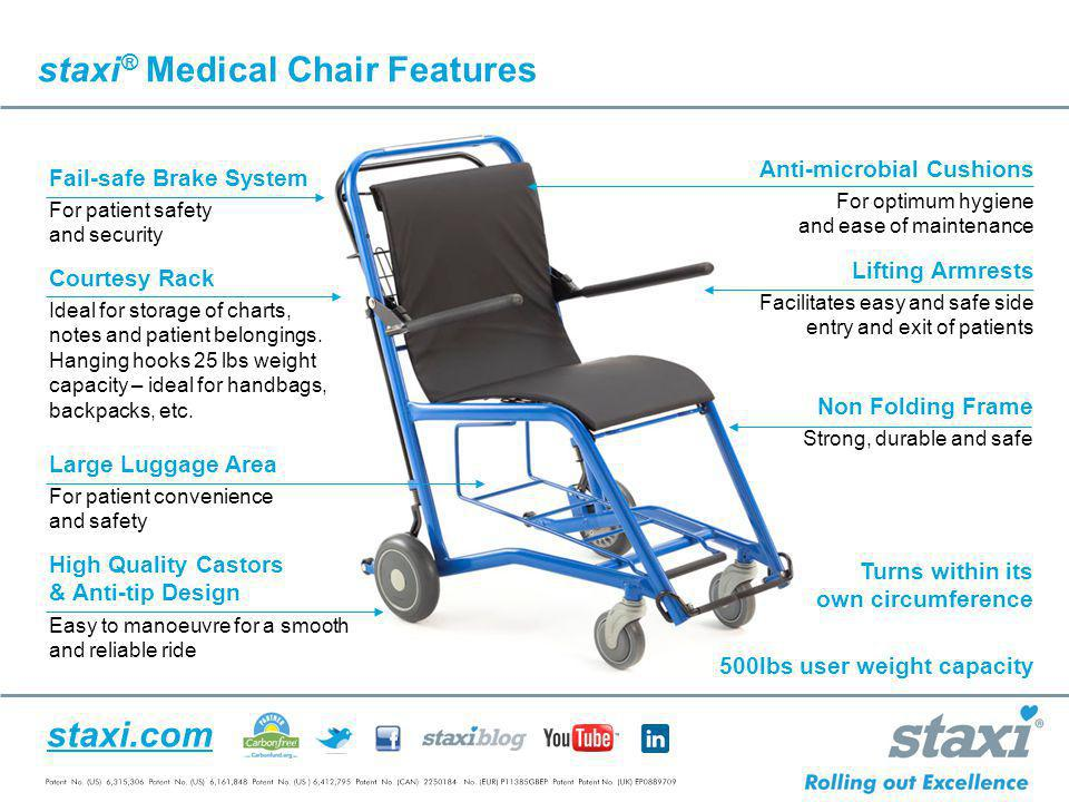 staxi.com Lifting Armrests Facilitates easy and safe side entry and exit of patients Non Folding Frame Strong, durable and safe Anti-microbial Cushion