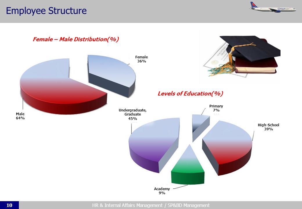HR & Internal Affairs Management / SP&BD Management10 Employee Structure Female – Male Distribution(%) Levels of Education(%) Male 64% Female 36% Undergraduate, Graduate 45% Primary 7% High-School 39% Academy 9%