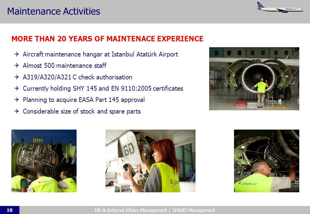 HR & Internal Affairs Management / SP&BD Management18 Maintenance Activities 1999dan beri devam eden operasyon Şirketin en karlı ticari faaliyeti 2011de 25,000den fazla blok saat Cidde ve Medineden 50den fazla destinasyona uçuş MORE THAN 20 YEARS OF MAINTENACE EXPERIENCE Aircraft maintenance hangar at Istanbul Atatürk Airport Almost 500 maintenance staff A319/A320/A321 C check authorisation Currently holding SHY 145 and EN 9110:2005 certificates Planning to acquire EASA Part 145 approval Considerable size of stock and spare parts