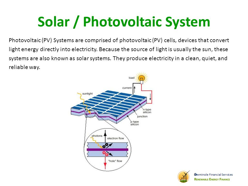 Solar / Photovoltaic System Photovoltaic (PV) Systems are comprised of photovoltaic (PV) cells, devices that convert light energy directly into electricity.