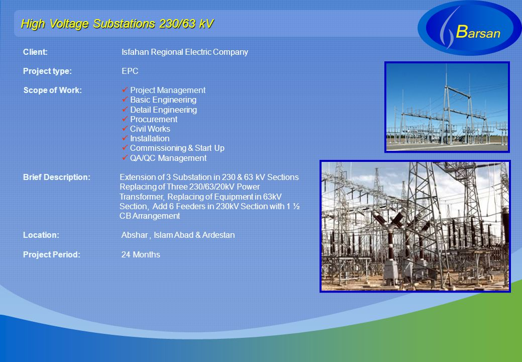 High Voltage Substations 230/63 kV Client: Isfahan Regional Electric Company Project type: EPC Scope of Work: Project Management Basic Engineering Det