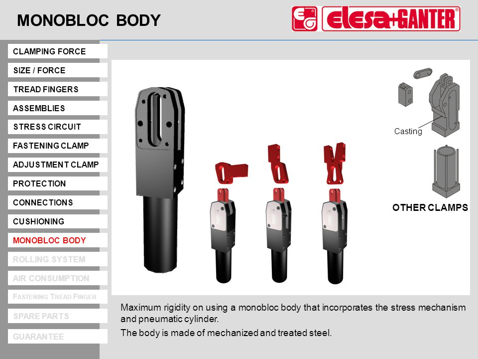 Monobloc Body MONOBLOC BODY Maximum rigidity on using a monobloc body that incorporates the stress mechanism and pneumatic cylinder.
