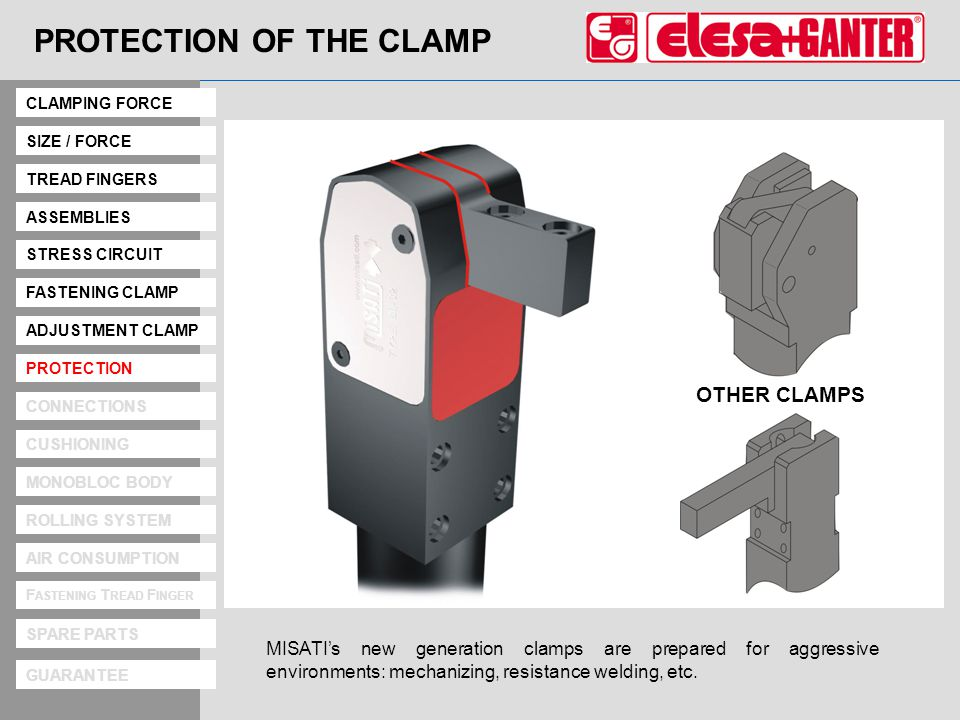 Protection PROTECTION OF THE CLAMP MISATIs new generation clamps are prepared for aggressive environments: mechanizing, resistance welding, etc.
