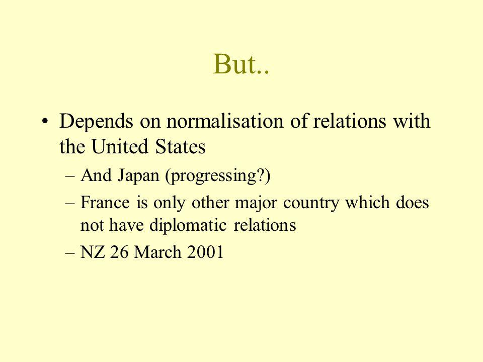 But.. Depends on normalisation of relations with the United States –And Japan (progressing?) –France is only other major country which does not have d