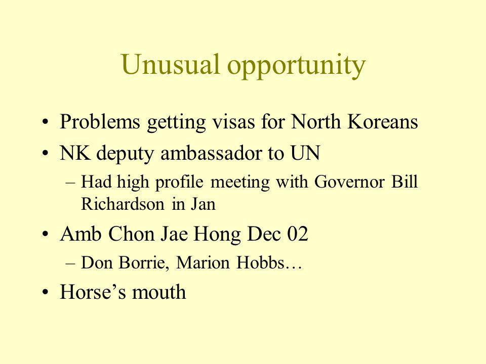 Unusual opportunity Problems getting visas for North Koreans NK deputy ambassador to UN –Had high profile meeting with Governor Bill Richardson in Jan Amb Chon Jae Hong Dec 02 –Don Borrie, Marion Hobbs… Horses mouth