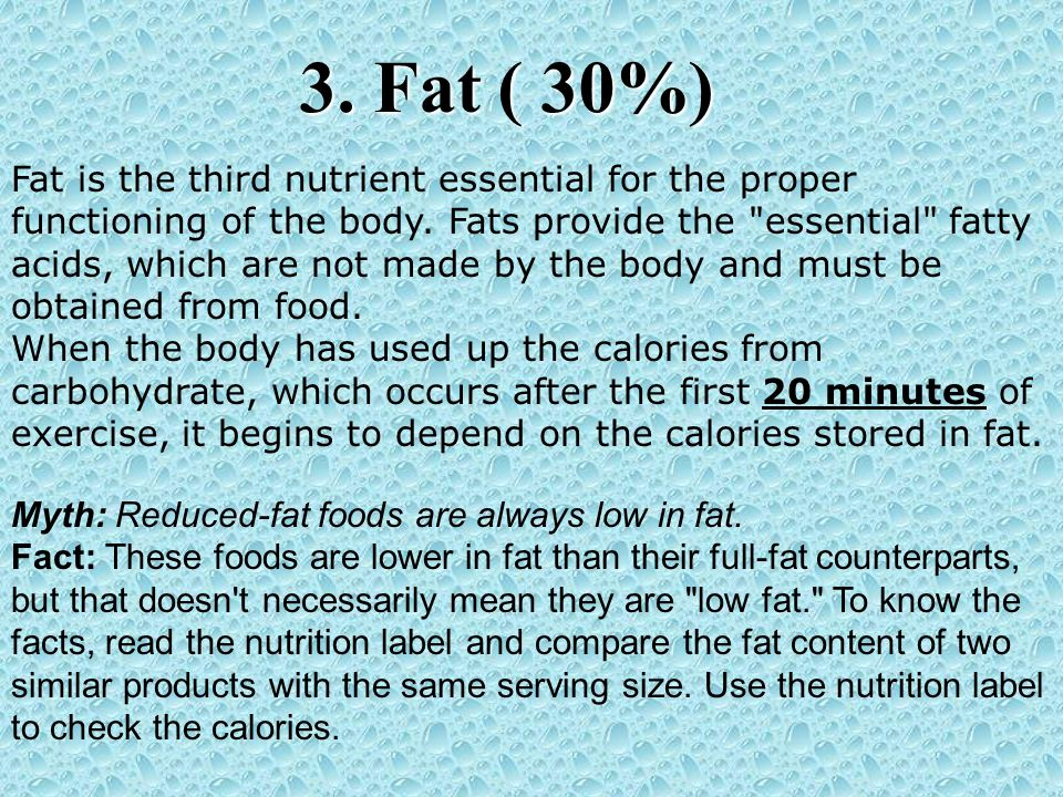 Myth: Reduced-fat foods are always low in fat. Fact: These foods are lower in fat than their full-fat counterparts, but that doesn't necessarily mean