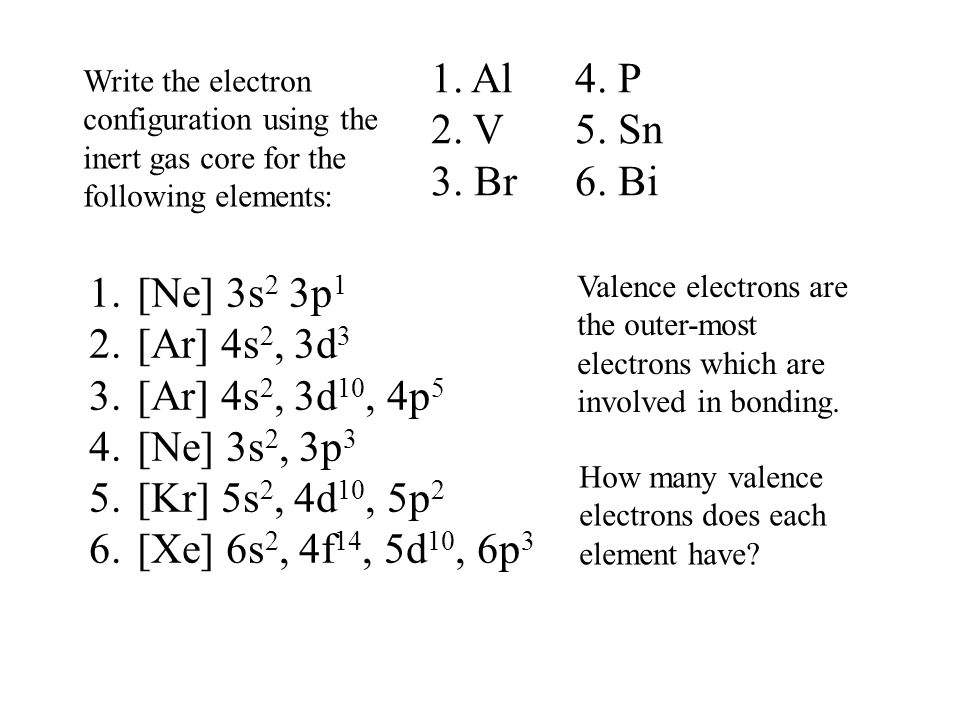 Write the electron configuration using the inert gas core for the following elements: 1. Al 4. P 2. V 5. Sn 3. Br 6. Bi 1.[Ne] 3s 2 3p 1 2.[Ar] 4s 2,