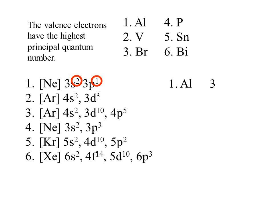 1.[Ne] 3s 2 3p 1 2.[Ar] 4s 2, 3d 3 3.[Ar] 4s 2, 3d 10, 4p 5 4.[Ne] 3s 2, 3p 3 5.[Kr] 5s 2, 4d 10, 5p 2 6.[Xe] 6s 2, 4f 14, 5d 10, 6p 3 1. Al 3 The val