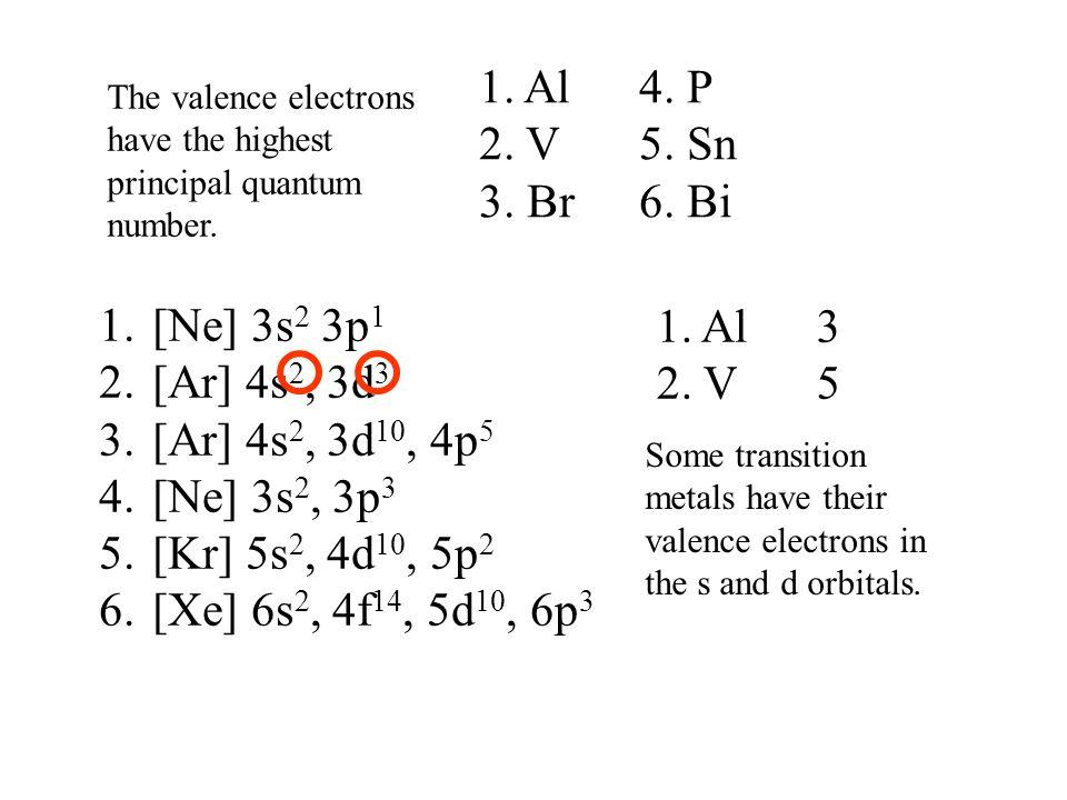 1.[Ne] 3s 2 3p 1 2.[Ar] 4s 2, 3d 3 3.[Ar] 4s 2, 3d 10, 4p 5 4.[Ne] 3s 2, 3p 3 5.[Kr] 5s 2, 4d 10, 5p 2 6.[Xe] 6s 2, 4f 14, 5d 10, 6p 3 1. Al 3 2. V5 T