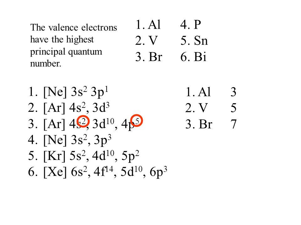 1.[Ne] 3s 2 3p 1 2.[Ar] 4s 2, 3d 3 3.[Ar] 4s 2, 3d 10, 4p 5 4.[Ne] 3s 2, 3p 3 5.[Kr] 5s 2, 4d 10, 5p 2 6.[Xe] 6s 2, 4f 14, 5d 10, 6p 3 1. Al 3 2. V5 3