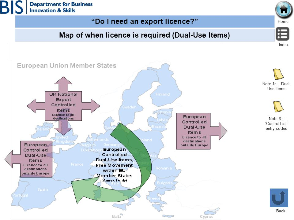 Do I need an export licence? Home Index Back Map of when licence is required (Dual-Use Items) Note 1a – Dual- Use Items Note 6 – Control List entry co