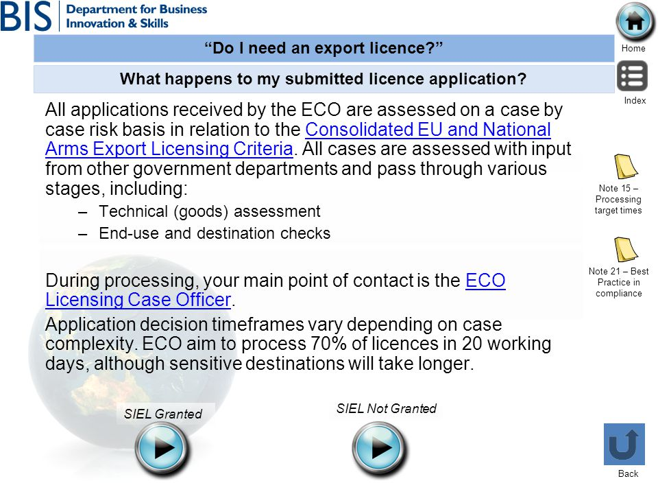 Do I need an export licence? Home Index Back SIEL Granted SIEL Not Granted What happens to my submitted licence application? Note 21 – Best Practice i