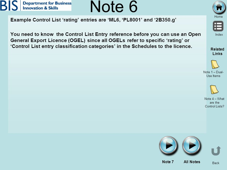 Home Index Back Note 6 Example Control List rating entries are ML6, PL8001 and 2B350.g You need to know the Control List Entry reference before you ca