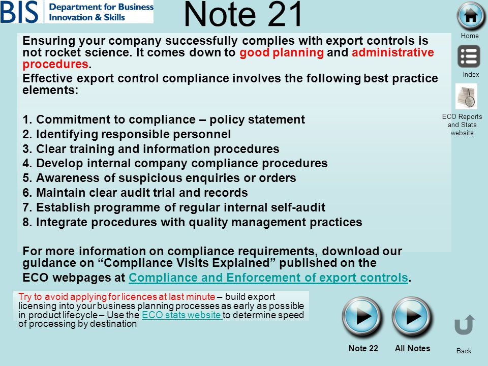 Home Index Back Note 21 Ensuring your company successfully complies with export controls is not rocket science. It comes down to good planning and adm