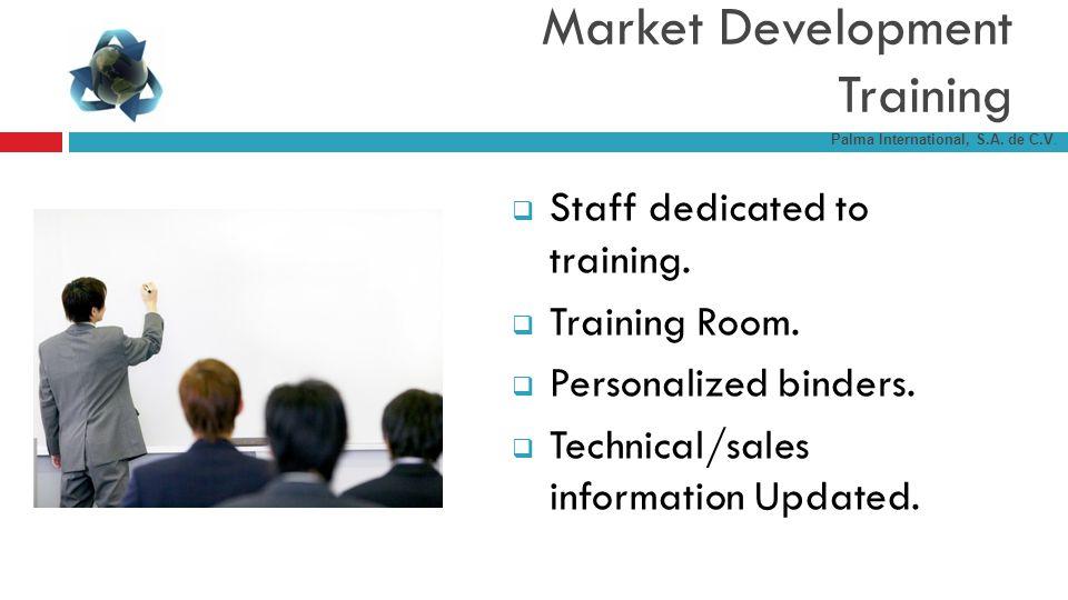Staff dedicated to training. Training Room. Personalized binders. Technical/sales information Updated. Market Development Training Palma International
