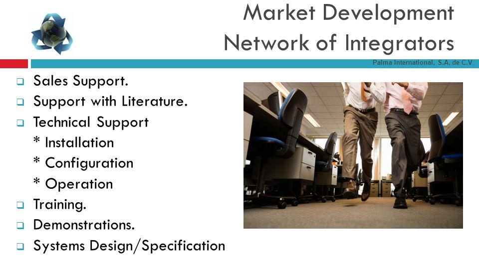 Market Development Network of Integrators Sales Support. Support with Literature. Technical Support * Installation * Configuration * Operation Trainin