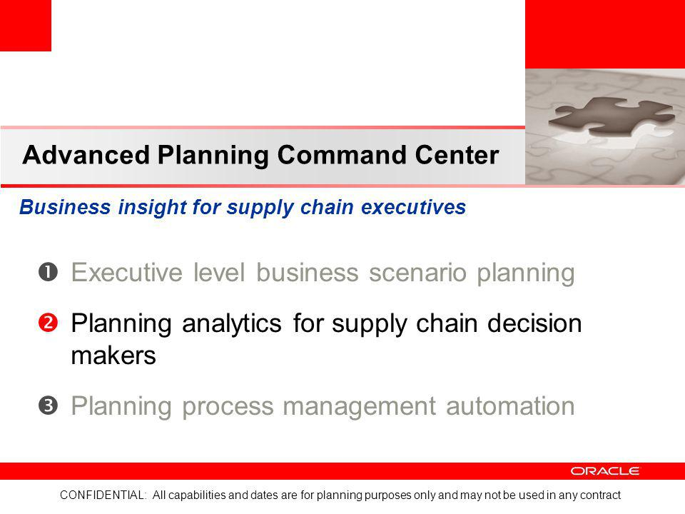CONFIDENTIAL: All capabilities and dates are for planning purposes only and may not be used in any contract Advanced Planning Command Center Business