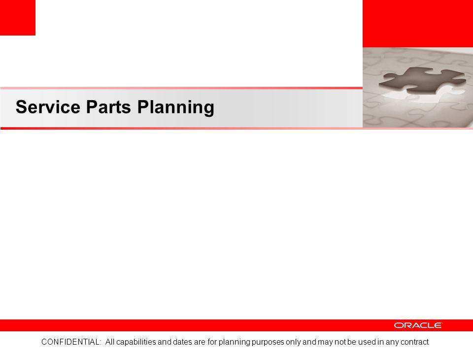 CONFIDENTIAL: All capabilities and dates are for planning purposes only and may not be used in any contract Service Parts Planning