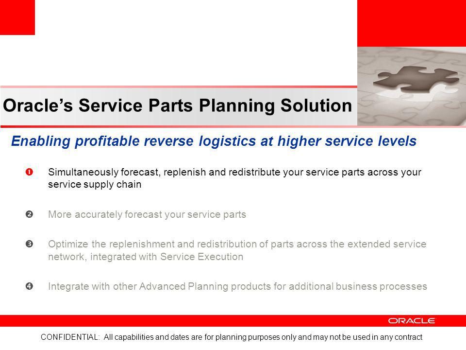 CONFIDENTIAL: All capabilities and dates are for planning purposes only and may not be used in any contract Oracles Service Parts Planning Solution En