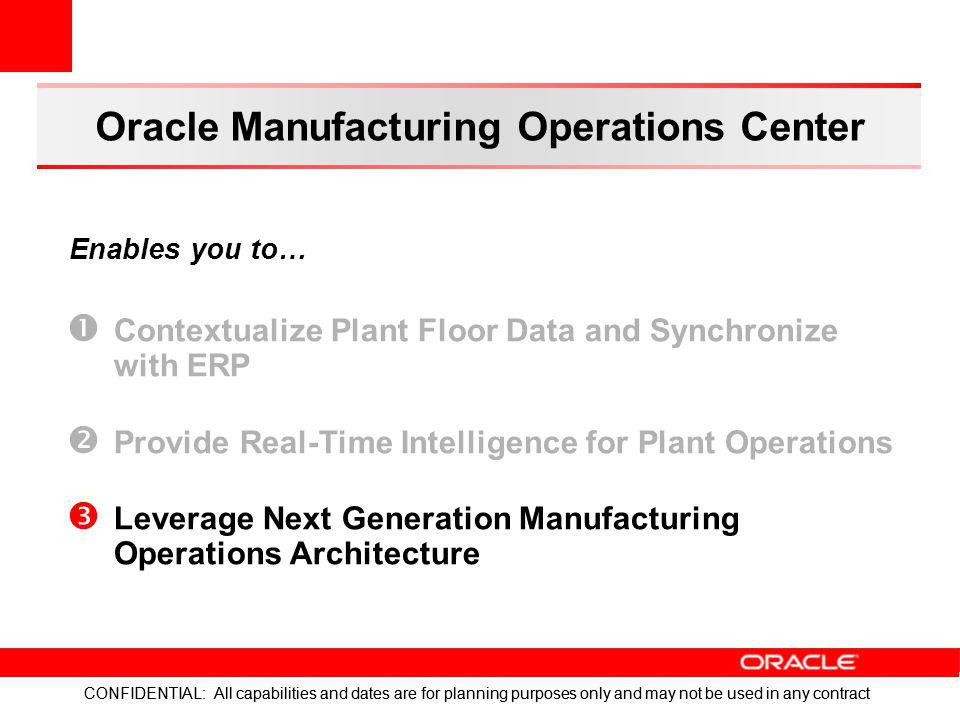 CONFIDENTIAL: All capabilities and dates are for planning purposes only and may not be used in any contract Oracle Manufacturing Operations Center Con