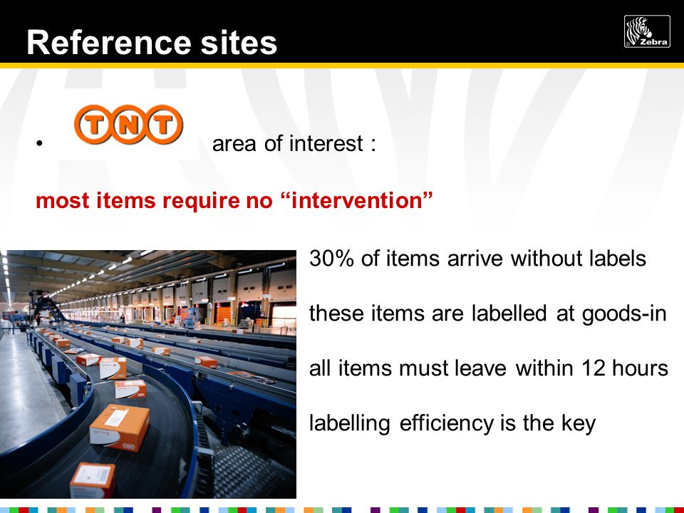 Reference sites area of interest : most items require no intervention 30% of items arrive without labels these items are labelled at goods-in all items must leave within 12 hours labelling efficiency is the key