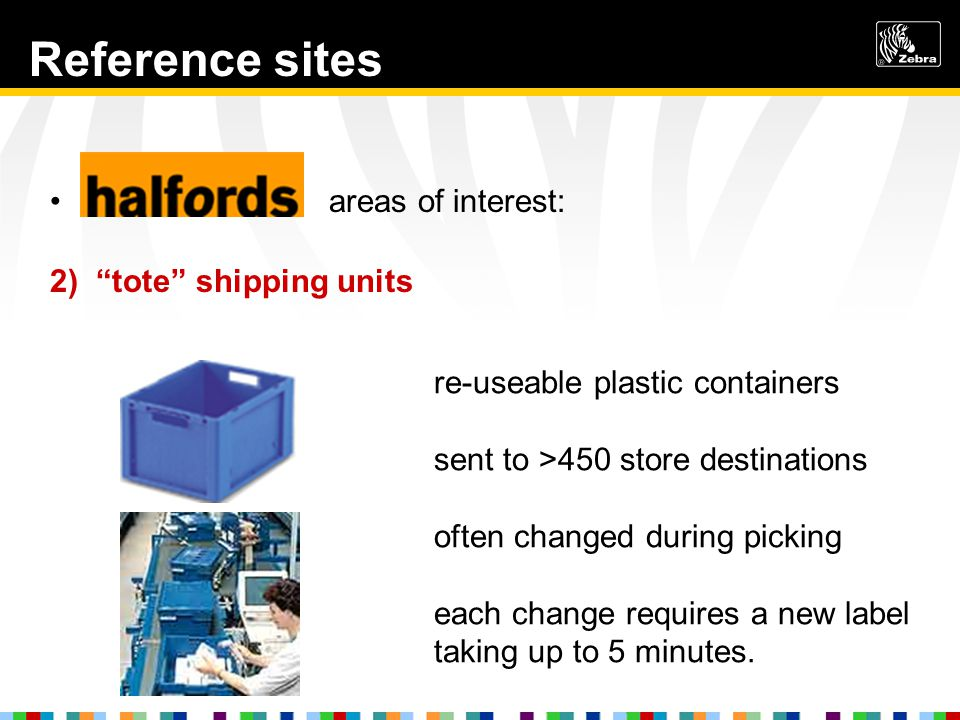 Reference sites Halfords areas of interest: 2) tote shipping units re-useable plastic containers sent to >450 store destinations often changed during picking each change requires a new label taking up to 5 minutes.