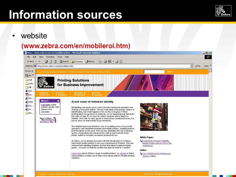 Information sources website (www.zebra.com/en/mobileroi.htm)