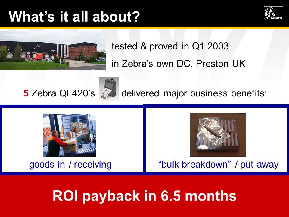 tested & proved in Q1 2003 in Zebras own DC, Preston UK 5 Zebra QL420s delivered major business benefits: bulk breakdown / put-away 450 hrs / 6300 sav