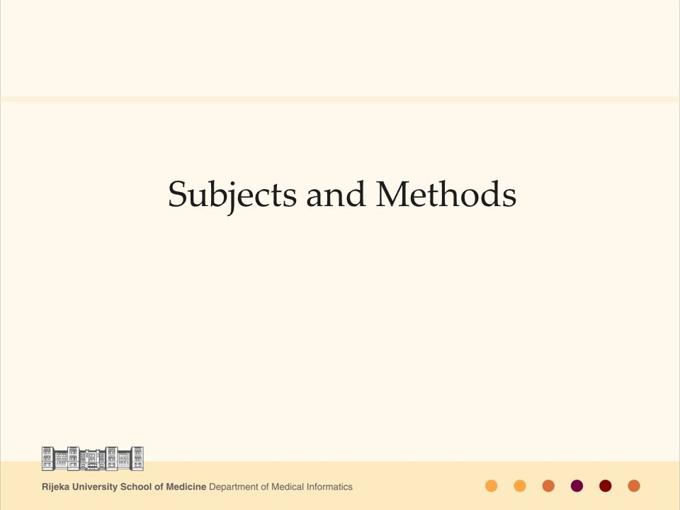 Subjects and Methods