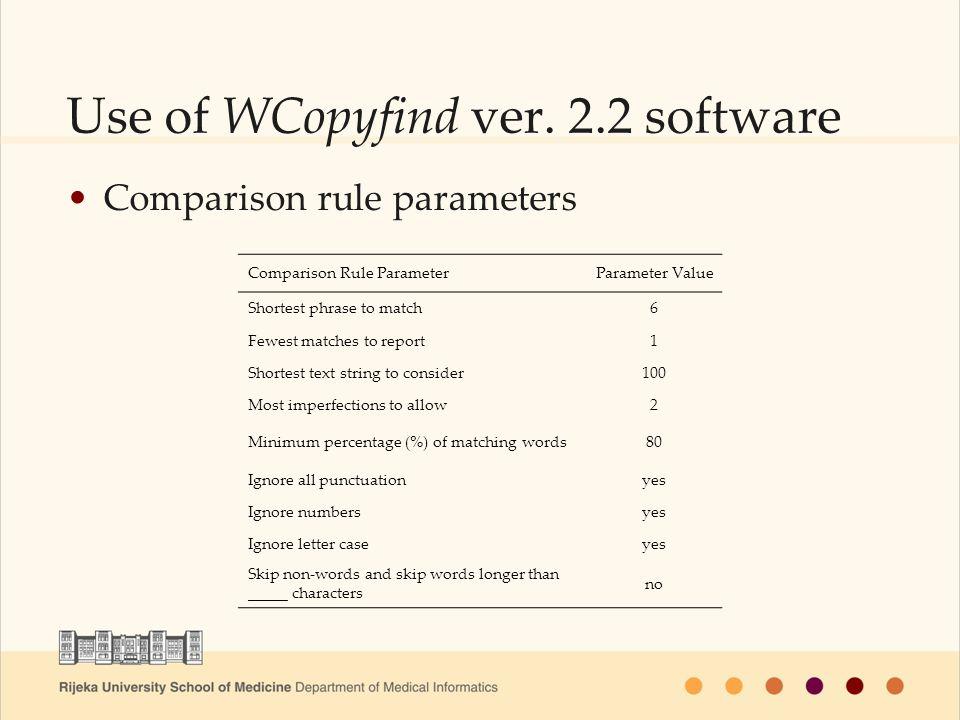 Use of WCopyfind ver.