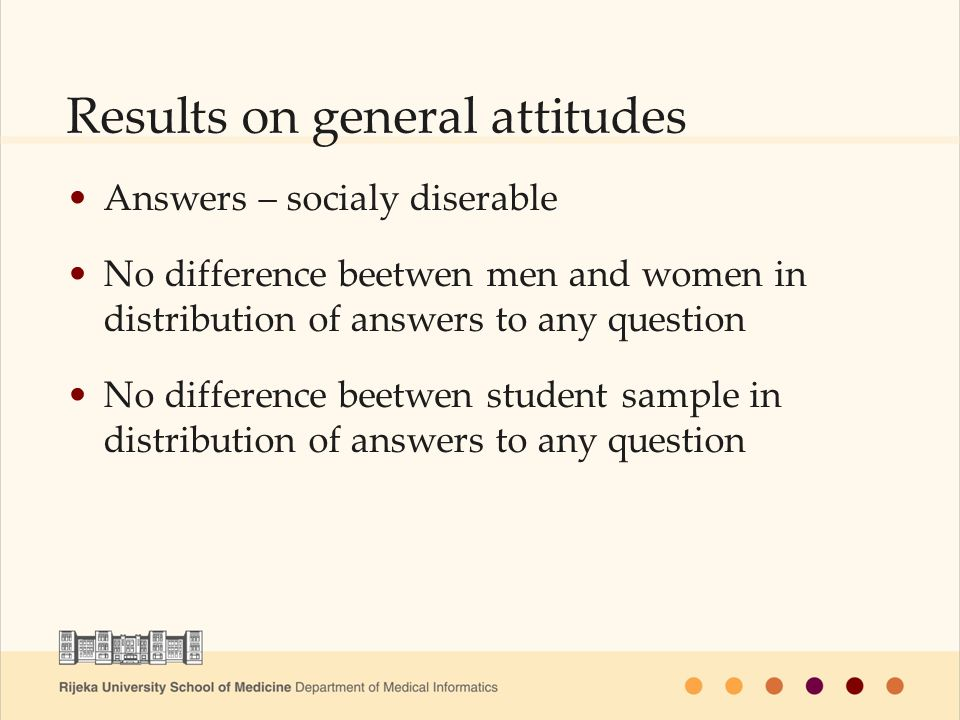 Results on general attitudes Answers – socialy diserable No difference beetwen men and women in distribution of answers to any question No difference