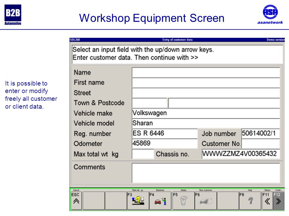 It is possible to enter or modify freely all customer or client data. Workshop Equipment Screen
