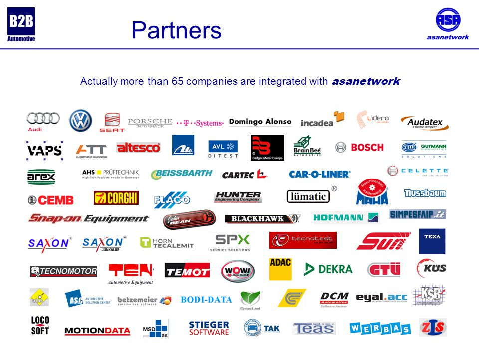 . Partners Actually more than 65 companies are integrated with asanetwork