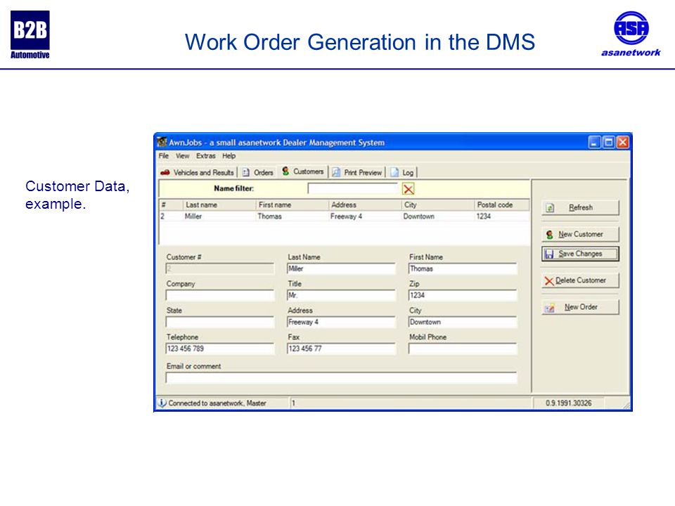 Customer Data, example. Work Order Generation in the DMS