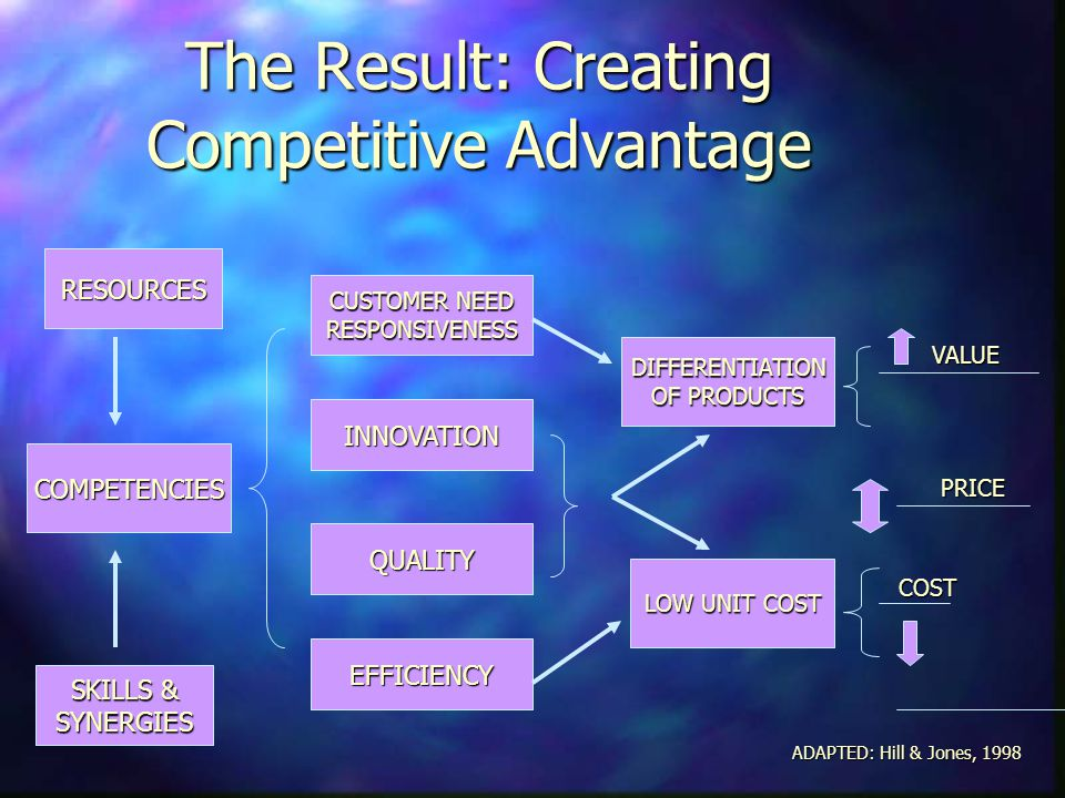 The Result: Creating Competitive Advantage RESOURCES COMPETENCIES SKILLS & SYNERGIES EFFICIENCY QUALITY INNOVATION CUSTOMER NEED RESPONSIVENESS LOW UN