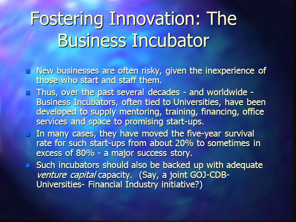 Fostering Innovation: The Business Incubator n New businesses are often risky, given the inexperience of those who start and staff them. n Thus, over