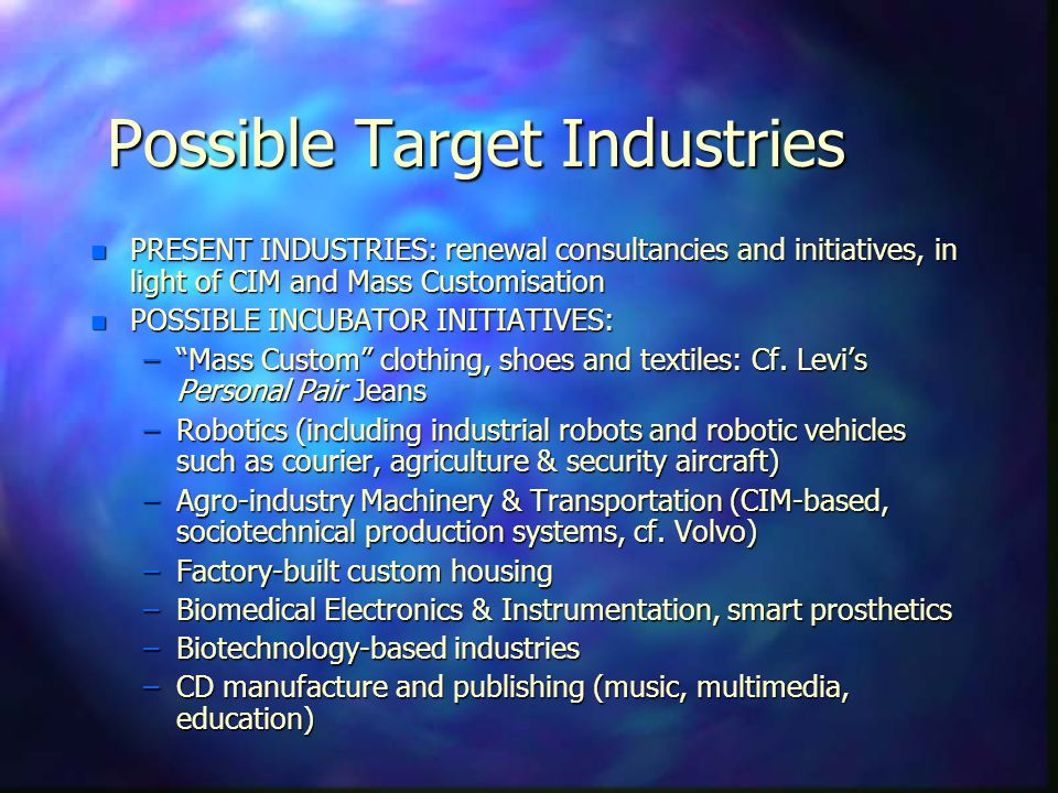 Possible Target Industries n PRESENT INDUSTRIES: renewal consultancies and initiatives, in light of CIM and Mass Customisation n POSSIBLE INCUBATOR IN