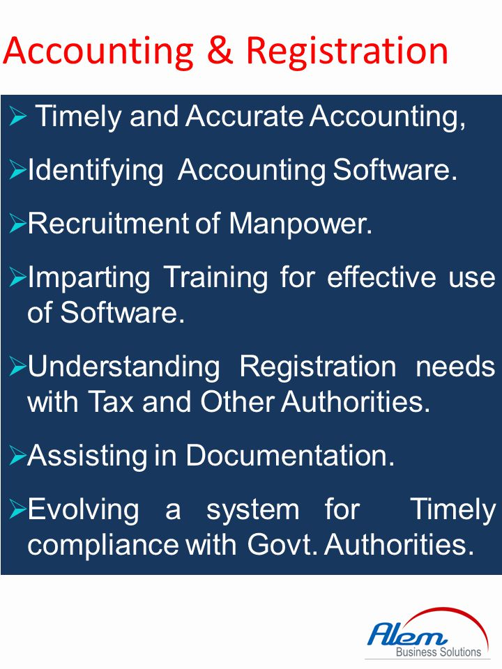 Accounting & Registration Accounting Solutions for Manufacturing Trading Service Sector FMCG Statutory Requirement TDS VAT & CST Service Tax GST Registration SME FCRA Business VAT & CST Service Tax Excise PF ESI Trade Mark Copy Rights
