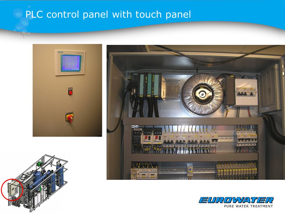 PLC control panel with touch panel