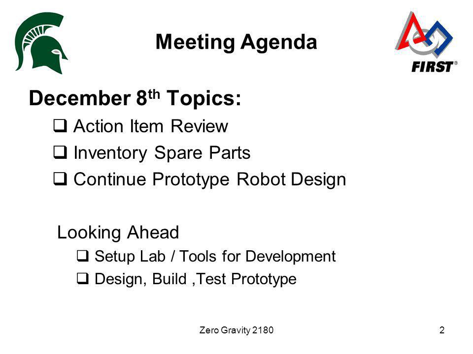 Zero Gravity 21802 Meeting Agenda December 8 th Topics: Action Item Review Inventory Spare Parts Continue Prototype Robot Design Looking Ahead Setup L