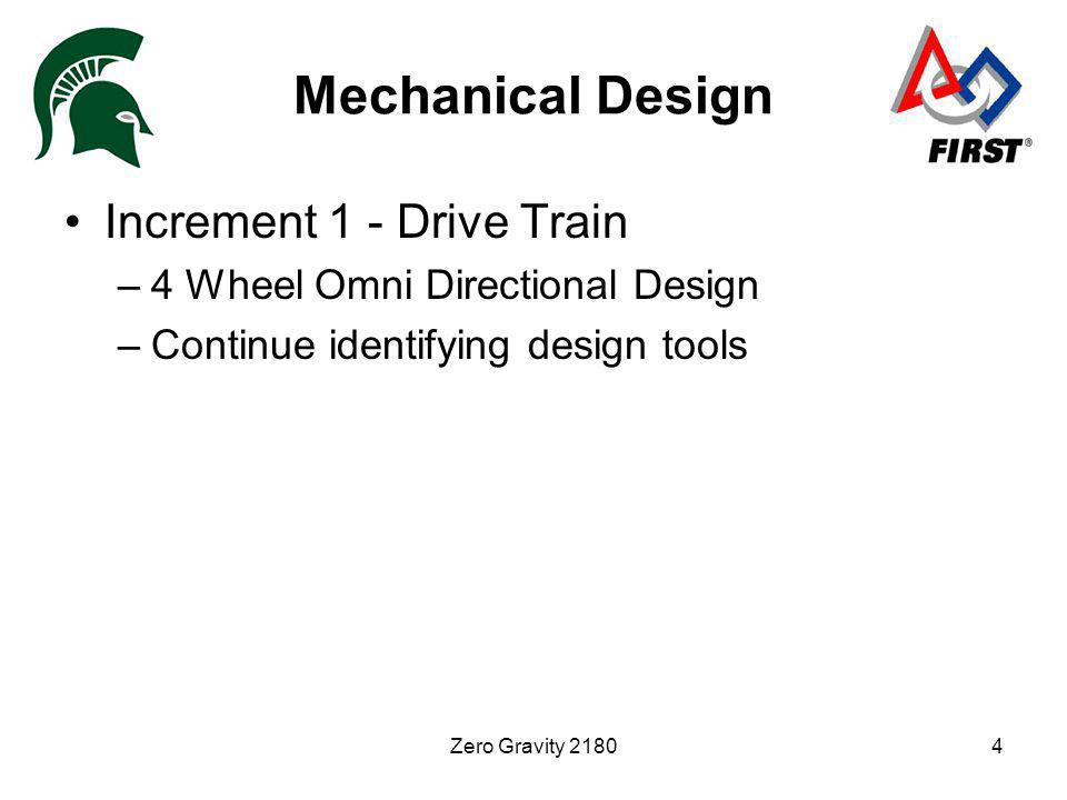 Zero Gravity 21804 Mechanical Design Increment 1 - Drive Train –4 Wheel Omni Directional Design –Continue identifying design tools