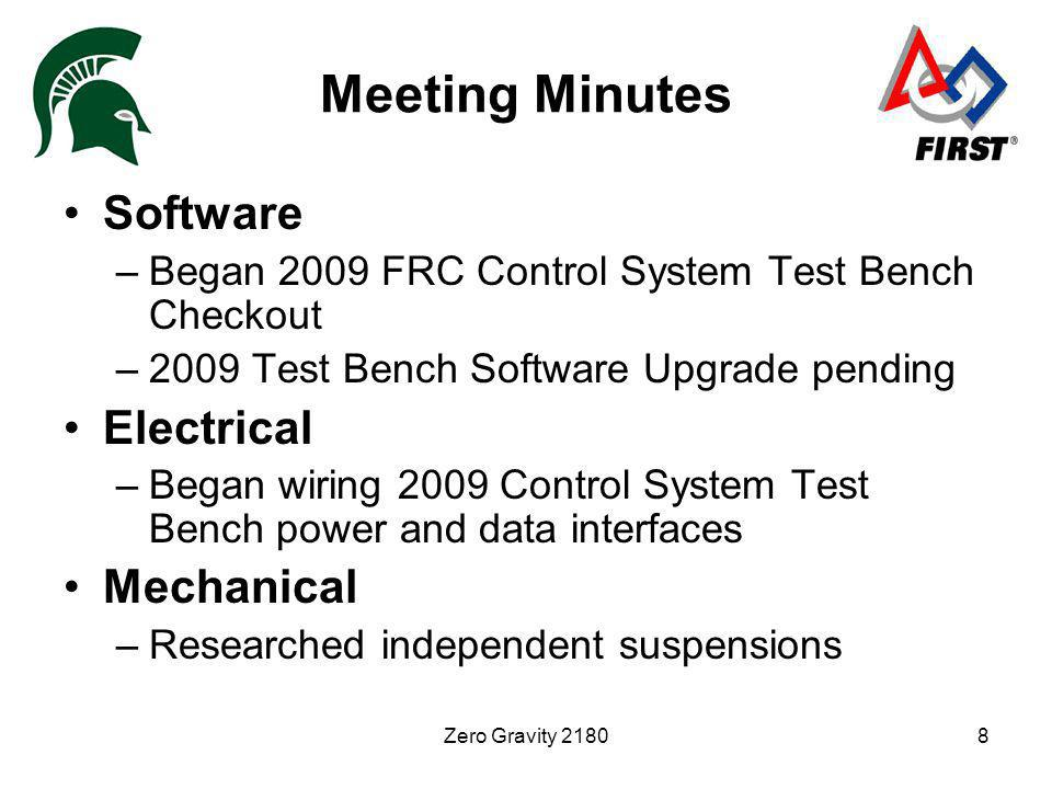 Zero Gravity 21808 Meeting Minutes Software –Began 2009 FRC Control System Test Bench Checkout –2009 Test Bench Software Upgrade pending Electrical –Began wiring 2009 Control System Test Bench power and data interfaces Mechanical –Researched independent suspensions