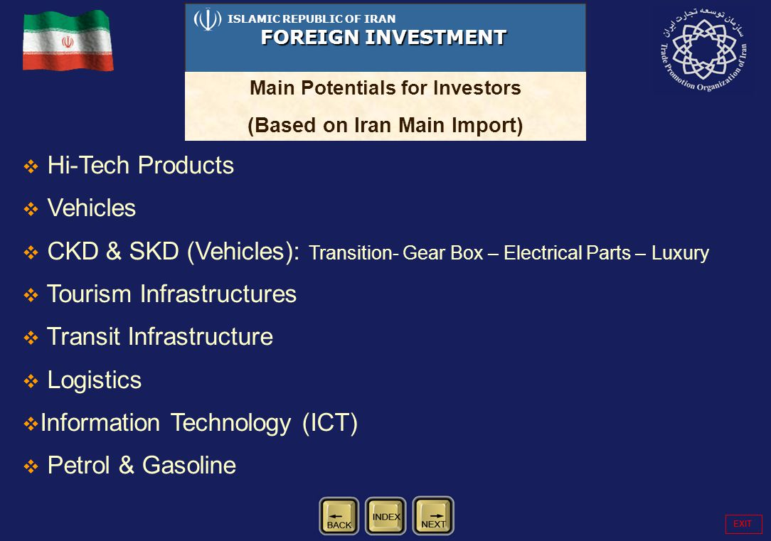 Hi-Tech Products Vehicles CKD & SKD (Vehicles): Transition- Gear Box – Electrical Parts – Luxury Tourism Infrastructures Transit Infrastructure Logist